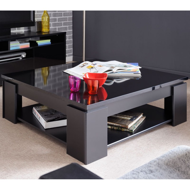 Table basse carr e bois noir moderne quadal univers salon - Table basse salon noir ...
