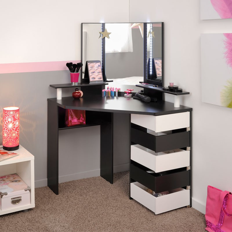 coiffeuse d 39 angle 5 tiroirs noir blanc moderne vicky univers chambre. Black Bedroom Furniture Sets. Home Design Ideas