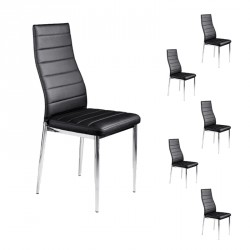 Lot de Six Chaises SImili Cuir Noir - JABA