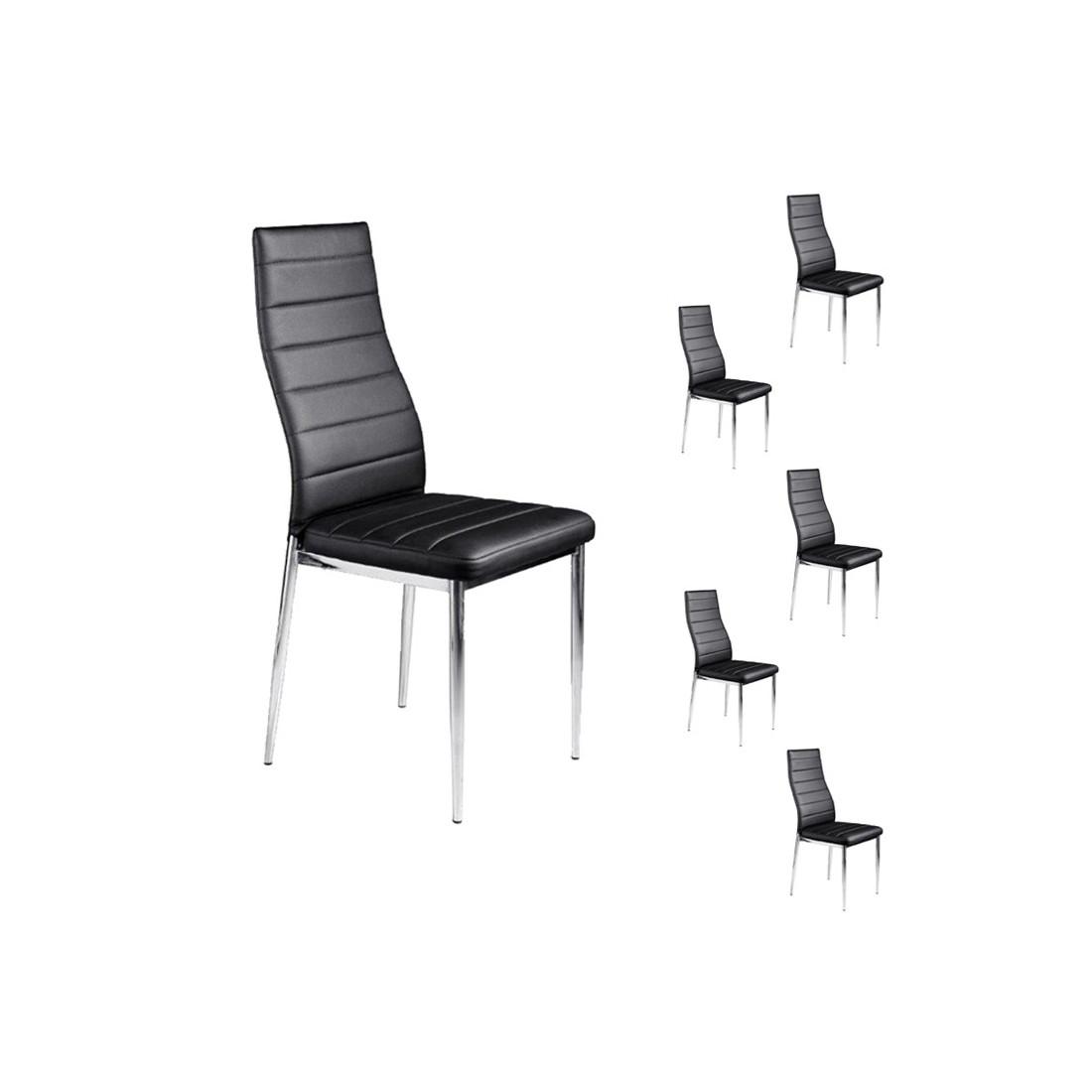 Lot de 6 chaises jaba simili cuir noir univers salle - Lot de 6 chaises ...