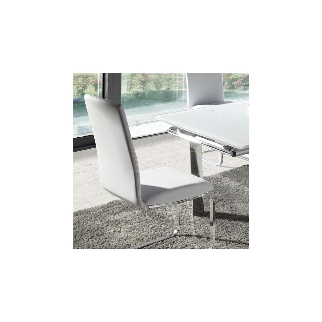 Quatuor de chaises simili cuir blanc tomy univers salle for Chaise salle a manger simili cuir blanc