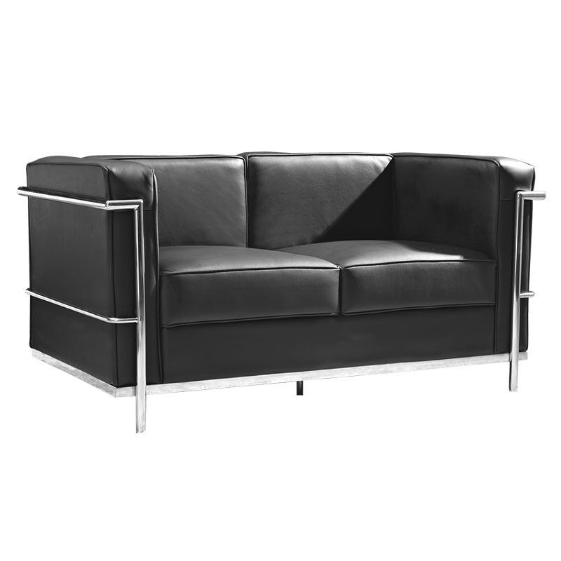 Canap 2 places cuir noir inox moderne design corbs for Salon canape noir