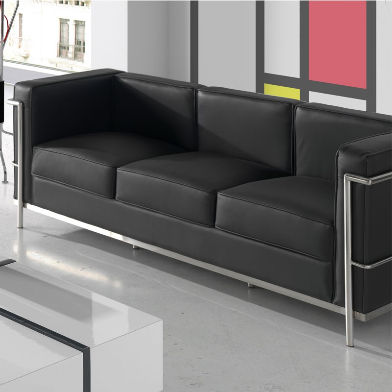 canap 3 places cuir noir inox design moderne corbs. Black Bedroom Furniture Sets. Home Design Ideas