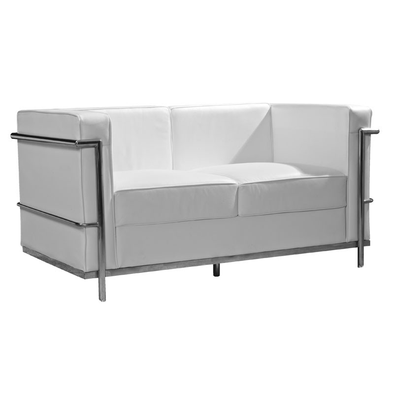 canap 2 places cuir blanc inox moderne design corbs univers du salon. Black Bedroom Furniture Sets. Home Design Ideas