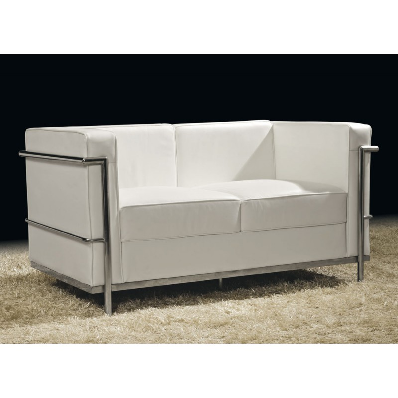 canap 2 places cuir blanc inox moderne design corbs. Black Bedroom Furniture Sets. Home Design Ideas