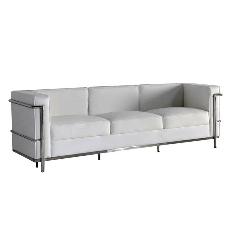 canap 3 places cuir blanc inox moderne design corbs. Black Bedroom Furniture Sets. Home Design Ideas