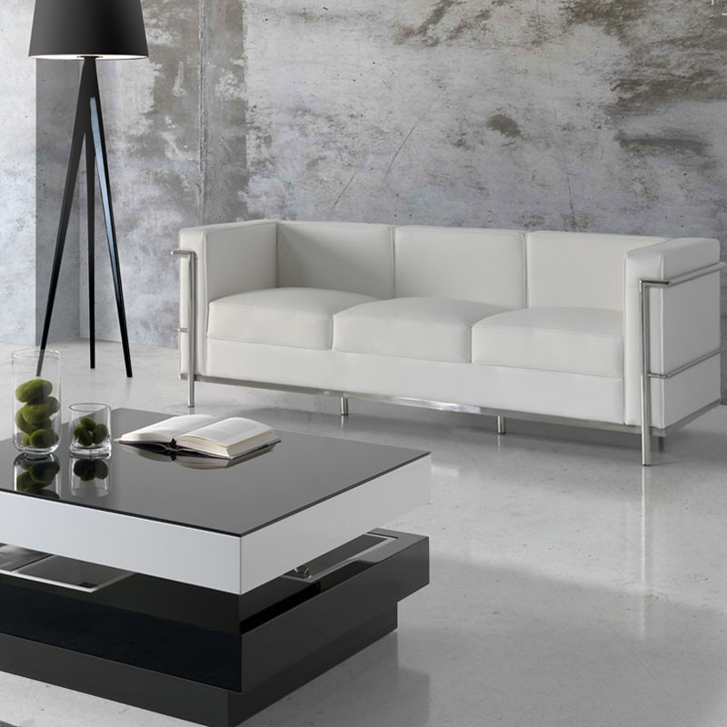 canap 3 places cuir blanc inox moderne design corbs univers du salon. Black Bedroom Furniture Sets. Home Design Ideas