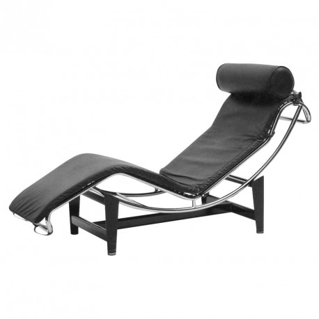 Chaise longue cuir noir inox design moderne corbs for Chaise salon cuir