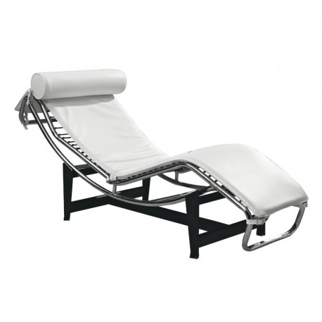 Chaise longue inclinable Cuir Blanc acier - Univers Salon et Assises : Tousmesmeubles