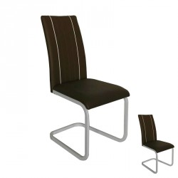 Duo de chaises Similicuir Marron - LUMBA