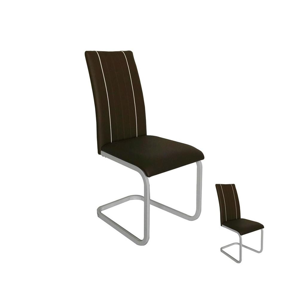 Duo de chaises Similicuir Marron pieds métal - Univers Salle à Manger et Assises : Tousmesmeubles