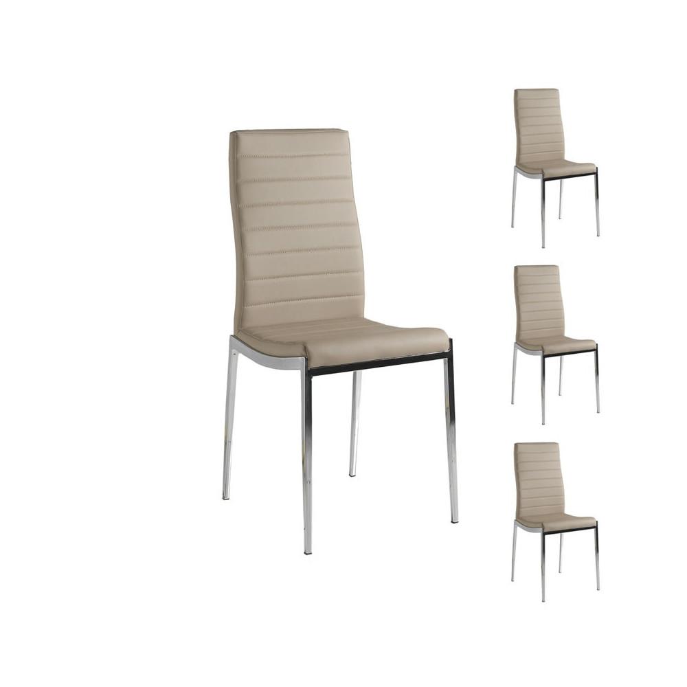 Quatuor de chaises Similicuir Cappuccino pieds métal chromé - Univers salle à Manger et Assises : Tousmesmeubles