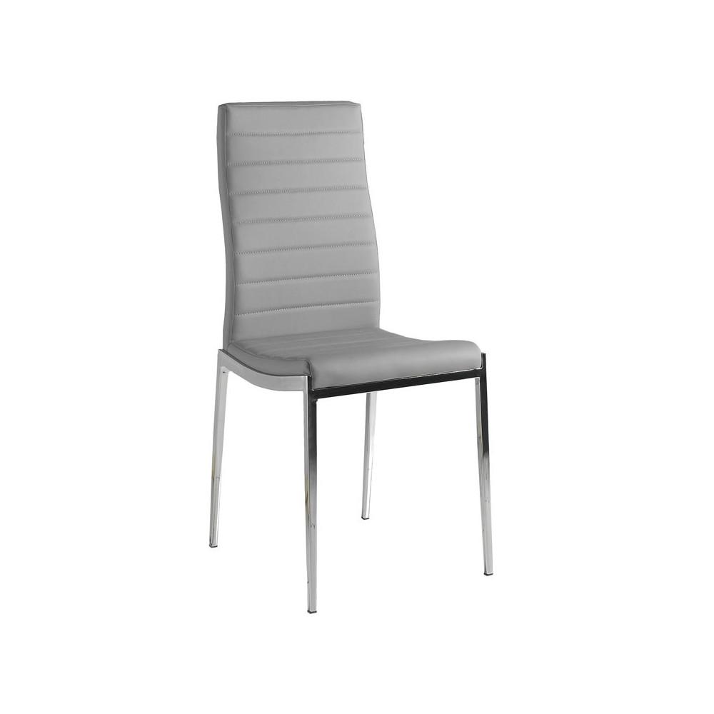 Quatuor de chaises Eco-cuir Gris - VILMA
