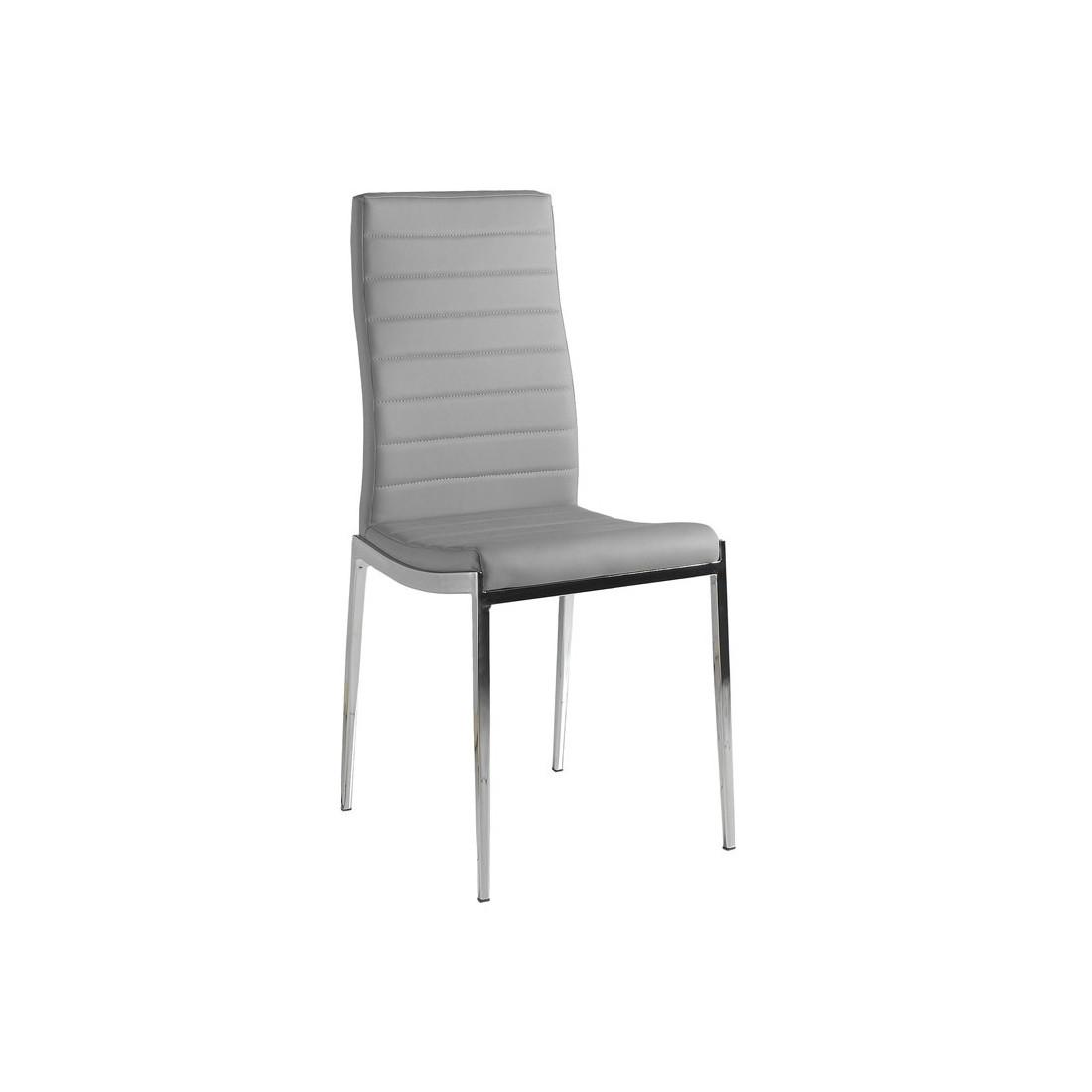 quatuor de chaises eco cuir gris et inox vilma univers des assises. Black Bedroom Furniture Sets. Home Design Ideas