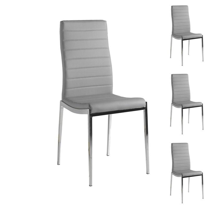 Quatuor de chaises Similicuir Gris pieds chromés - Univers Salle à Manger et Assises : Tousmesmeubles