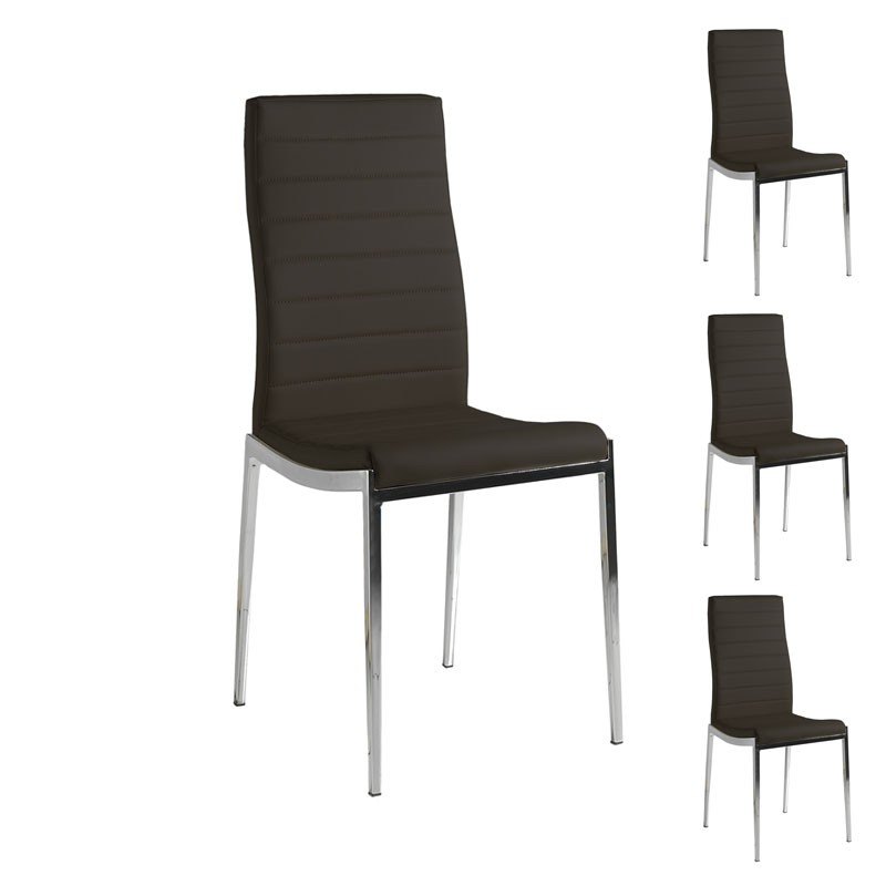 quatuor de chaises eco cuir noir inox luxe vilma univers des assises. Black Bedroom Furniture Sets. Home Design Ideas