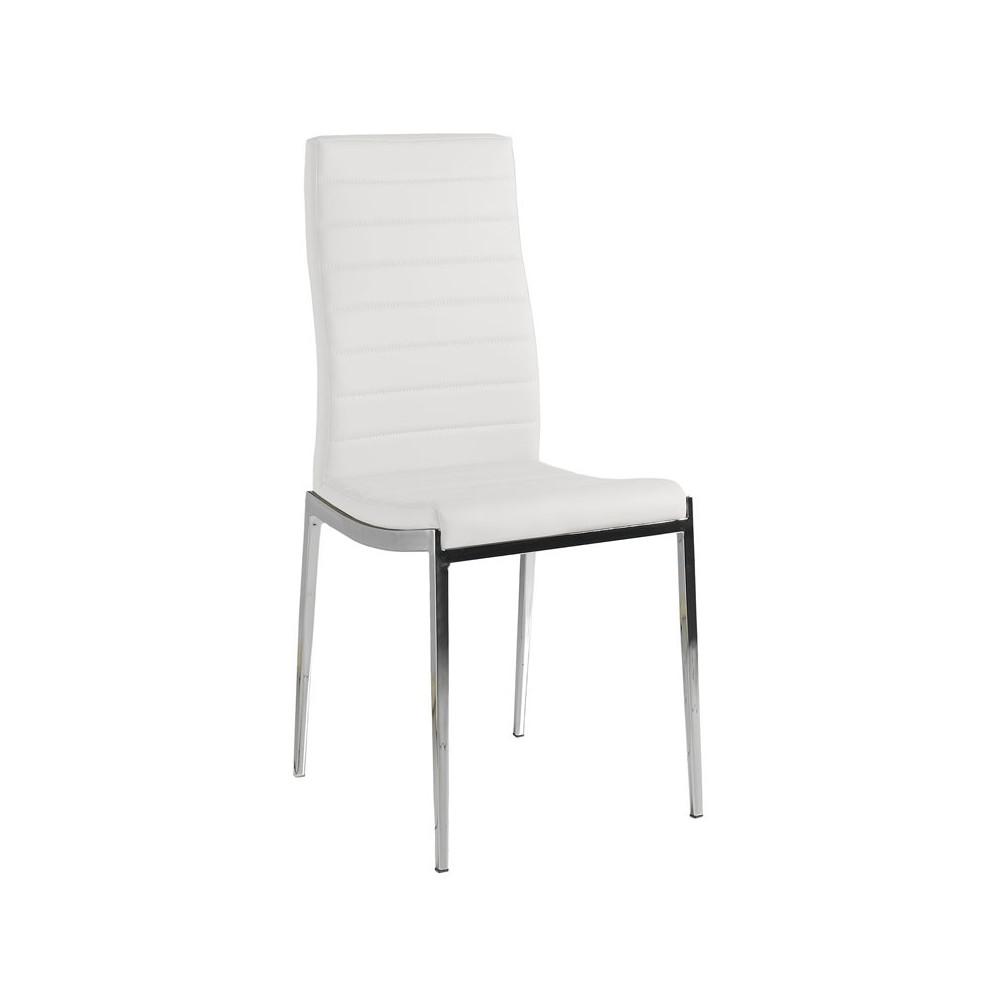 Quatuor de chaises Eco-cuir Blanc - VILMA