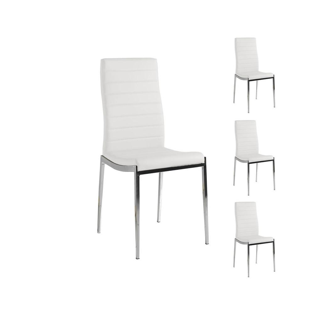 Quatuor de chaises Similicuir Blanc pieds chromés - Univers Salle à Manger et Assises : Tousmesmeubles