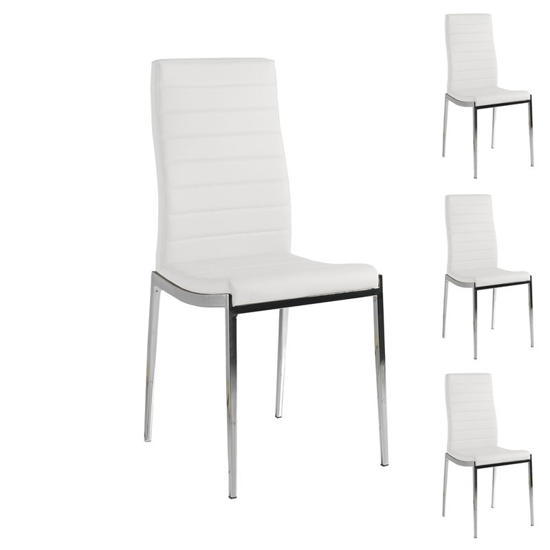 quatuor de chaises eco cuir blanc inox vilma univers des assises. Black Bedroom Furniture Sets. Home Design Ideas