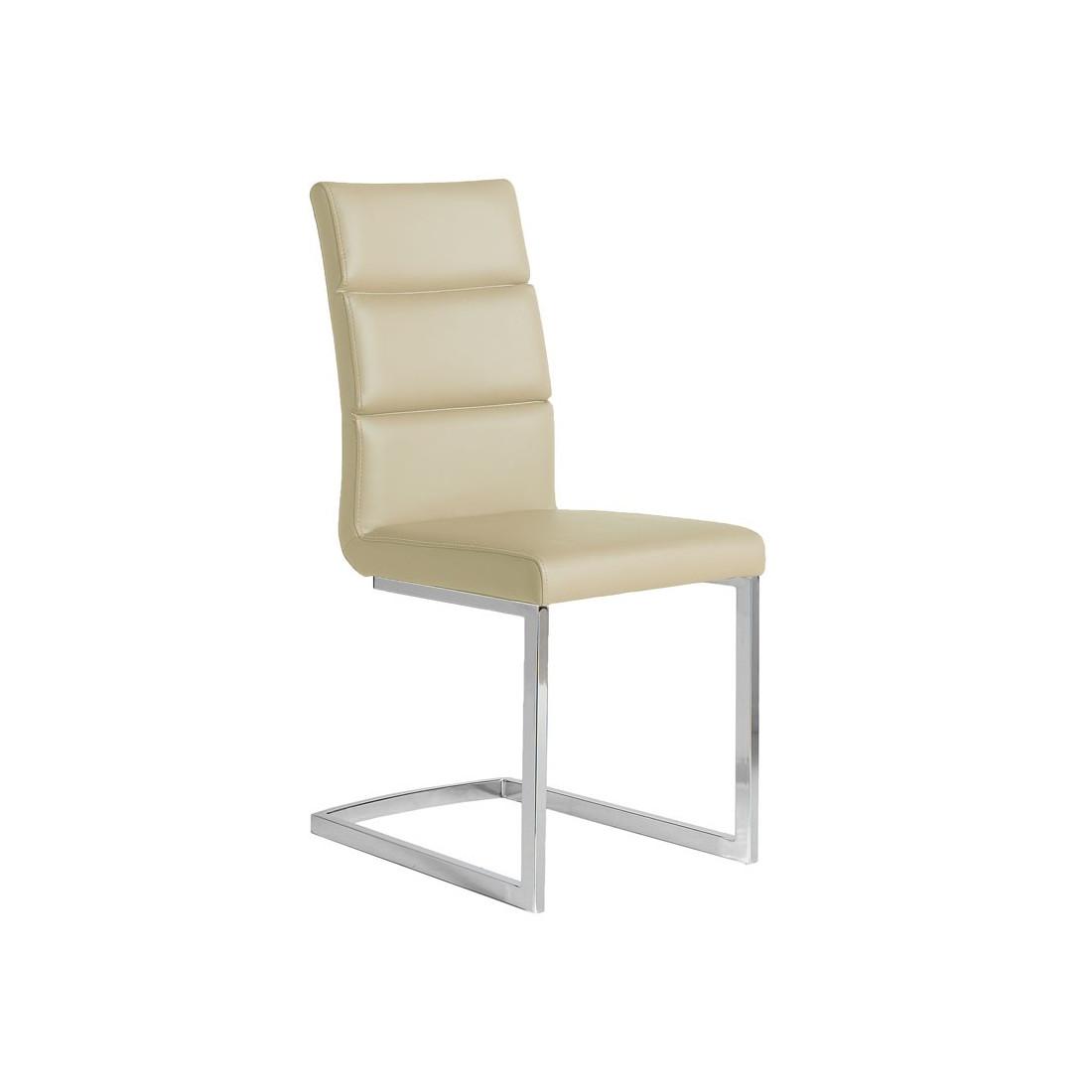 Quatuor de chaises eco cuir beige inox luxe loni univers des assises - Chaise en cuir beige ...