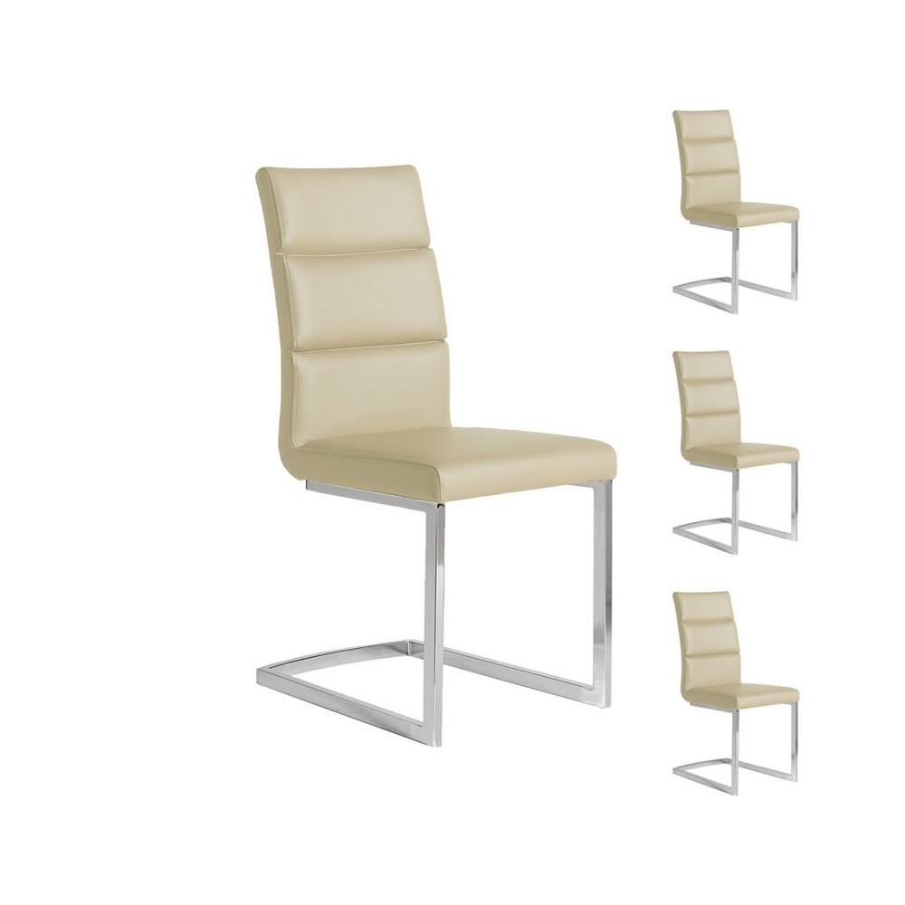 Quatuor de chaises Similicuir Beige pieds chromés - Univers Salle à Manger et Assises  : Tousmesmeubles