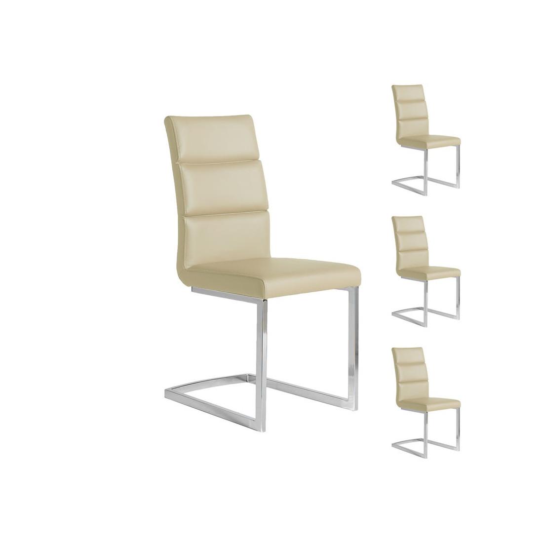 quatuor de chaises eco cuir beige inox luxe loni univers des assises. Black Bedroom Furniture Sets. Home Design Ideas
