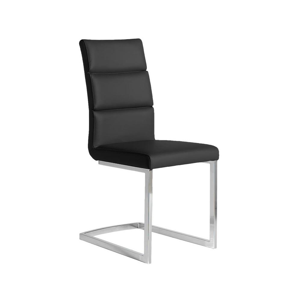 Quatuor de chaises Eco-cuir Noir - LONI