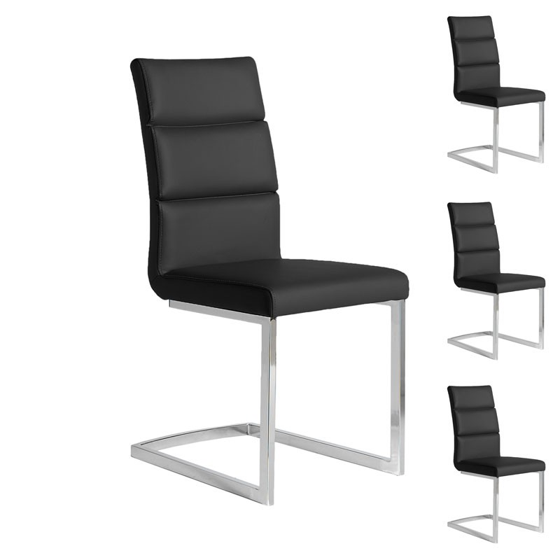 quatuor de chaises eco cuir noir inox luxe loni univers des assises. Black Bedroom Furniture Sets. Home Design Ideas