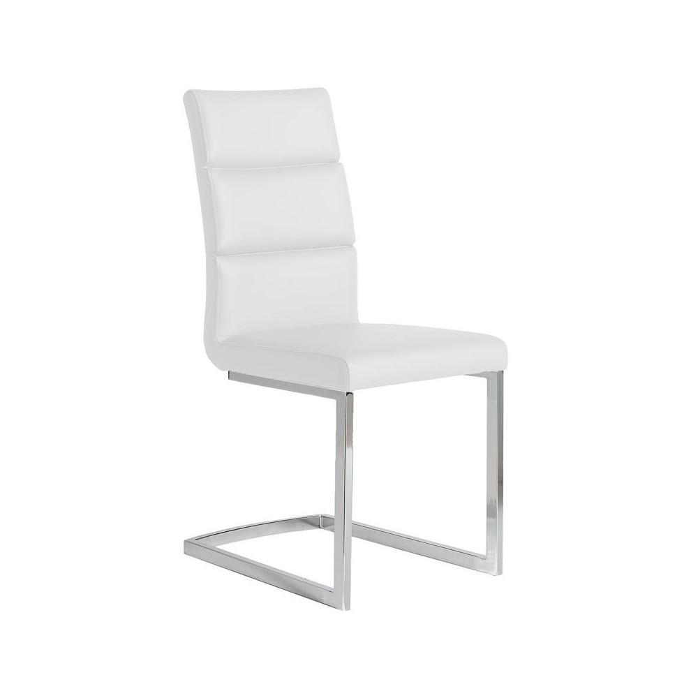 Quatuor de chaises Eco-cuir Blanc - LONI