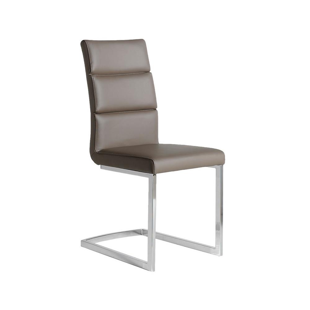 Quatuor de chaises Eco-cuir Taupe - LONI