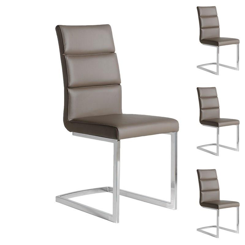 quatuor de chaises eco cuir taupe chrome loni univers des assises. Black Bedroom Furniture Sets. Home Design Ideas