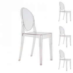 Quatuor de chaises Transparent - GHOST