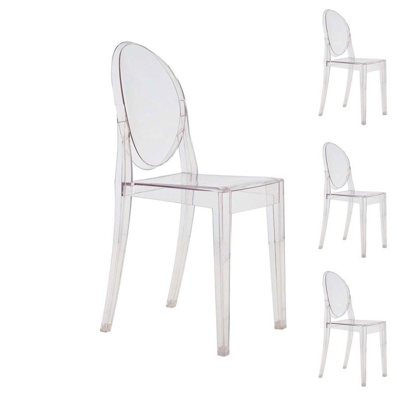 Quatuor de chaises Transparent plastique - Univers Salle à Manger et Assises : Tousmesmeubles