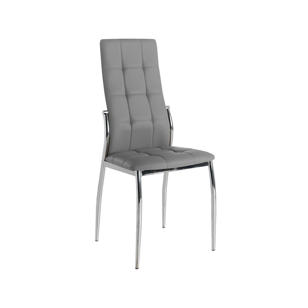 Quatuor de chaises Eco-cuir Gris - CALAS
