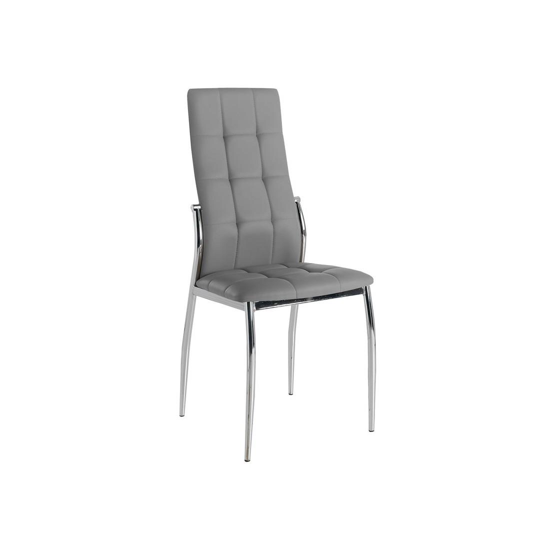 quatuor de chaises eco cuir gris chrome calas univers des assises. Black Bedroom Furniture Sets. Home Design Ideas