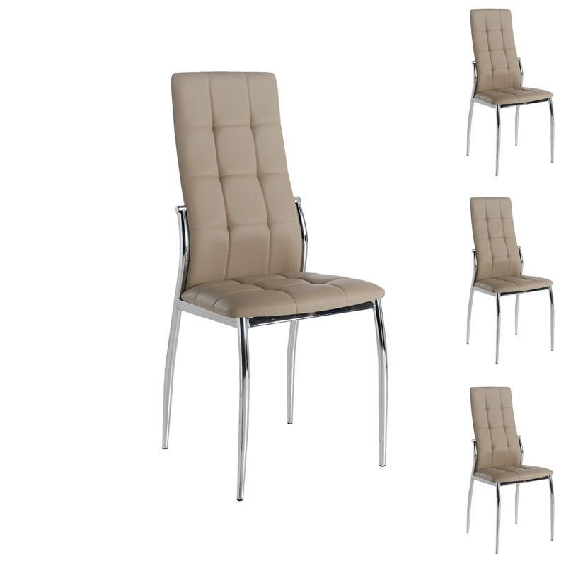 Quatuor de chaises Eco-cuir Cappuccino - CALAS