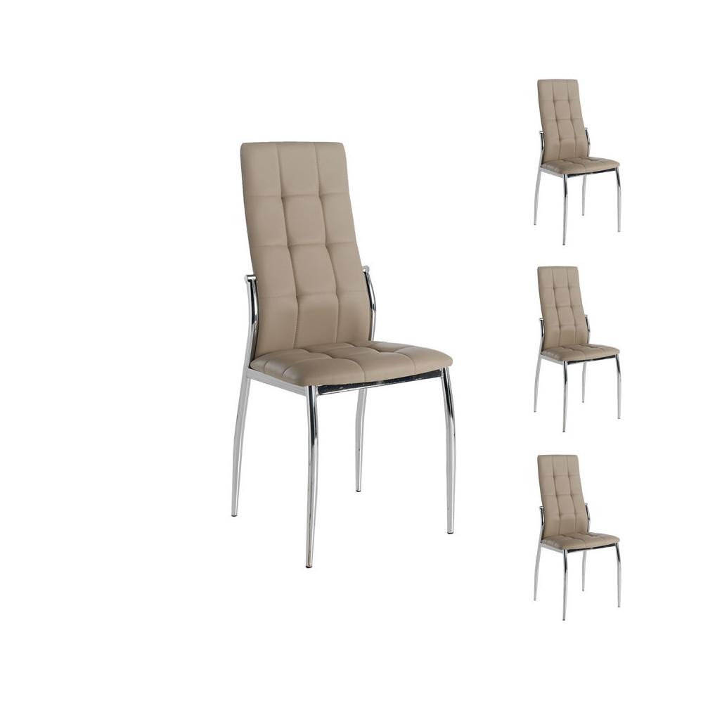 Quatuor de chaises Similicuir Cappuccino pieds chromés - Univers Salle à Manger et Assises : Tousmesmeubles