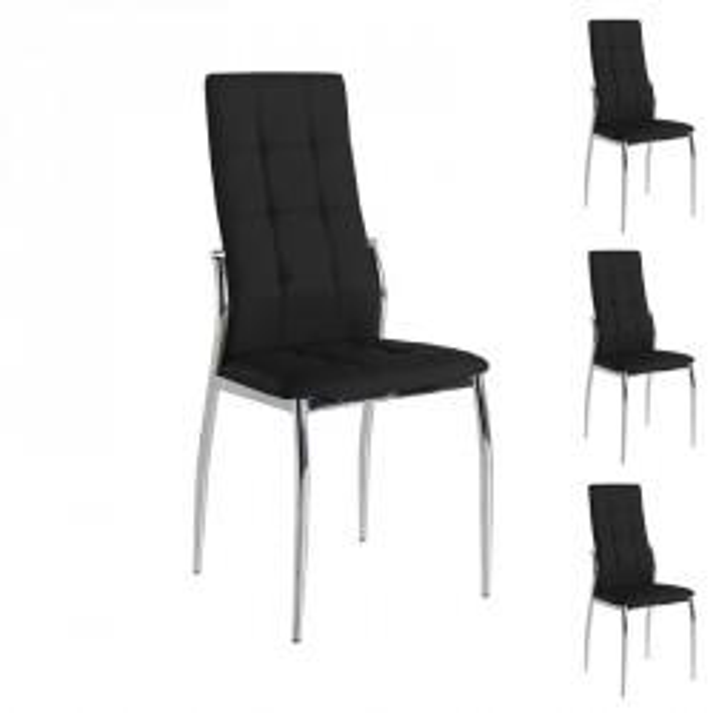 Quatuor de chaises Similicuir Noir pieds chromés - Univers Salle à Manger et Assises : Tousmesmeubles