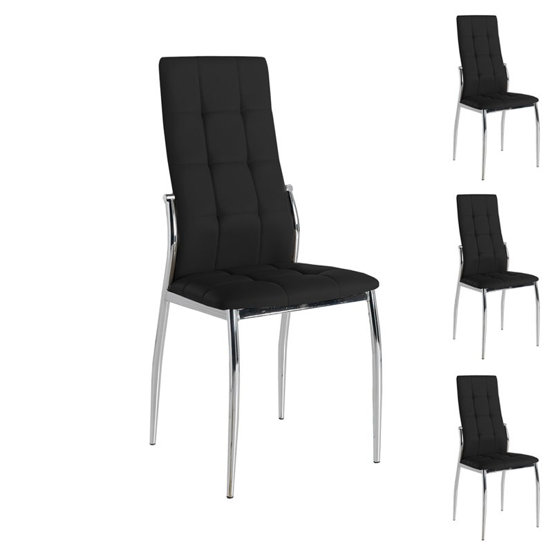 quatuor de chaises eco cuir noir chrome calas univers des assises. Black Bedroom Furniture Sets. Home Design Ideas