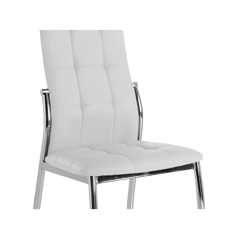 Quatuor de chaises eco cuir blanc chrome calas univers for Chaise cuir blanc