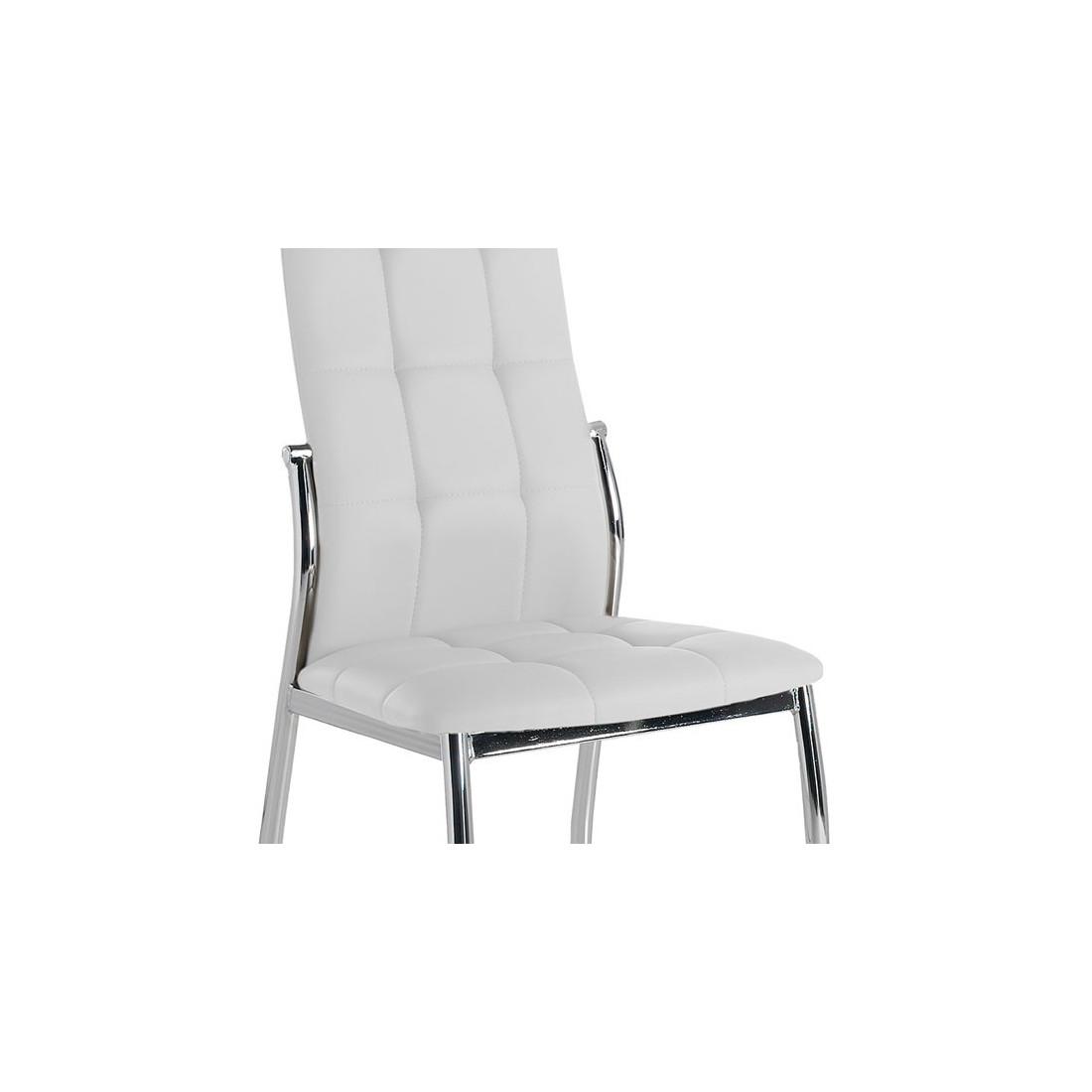 quatuor de chaises similicuir blanc pieds chroms univers salle manger et assises tousmesmeubles - Chaise Cuir Blanc