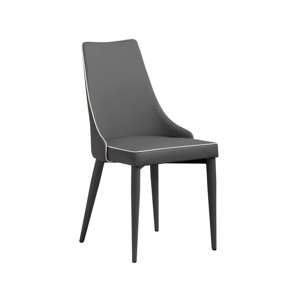 Duo de chaises Eco-cuir Gris - GALVO