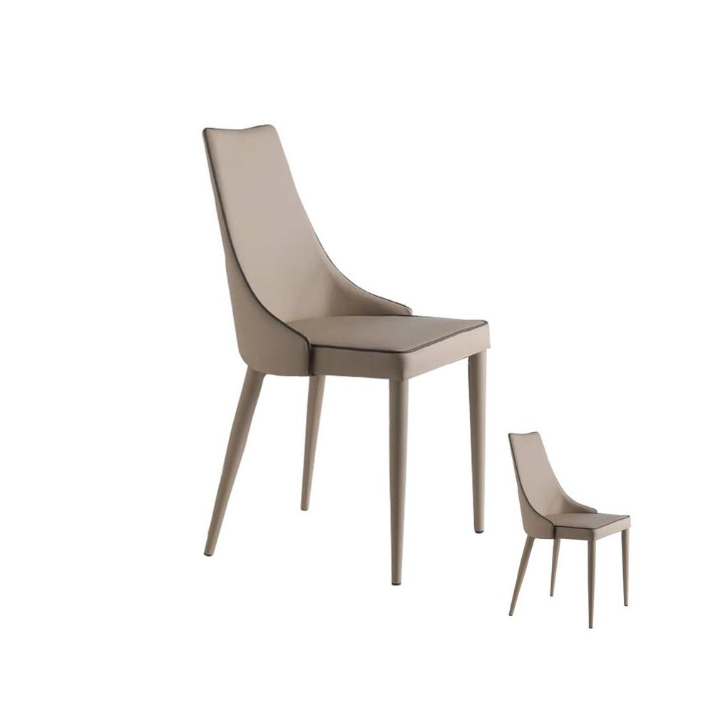 Duo de chaises Similicuir Beige - Univers Salle à Manger et Assises : Tousmesmeubles