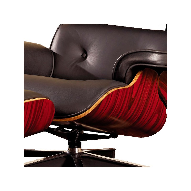 fauteuil cuir noir bois style charles eames evans. Black Bedroom Furniture Sets. Home Design Ideas
