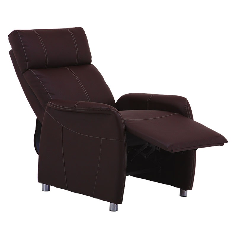 Fauteuil Relax Eco Cuir Marron Moderne Chic Lonis Univers Des Assises