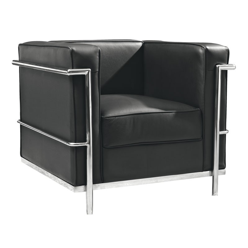 fauteuil cuir noir design chrome inox chic corbs univers. Black Bedroom Furniture Sets. Home Design Ideas
