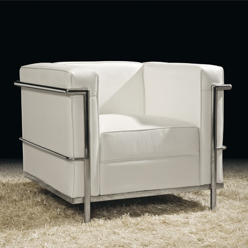 fauteuil cuir blanc chic design chrome corbs univers des. Black Bedroom Furniture Sets. Home Design Ideas