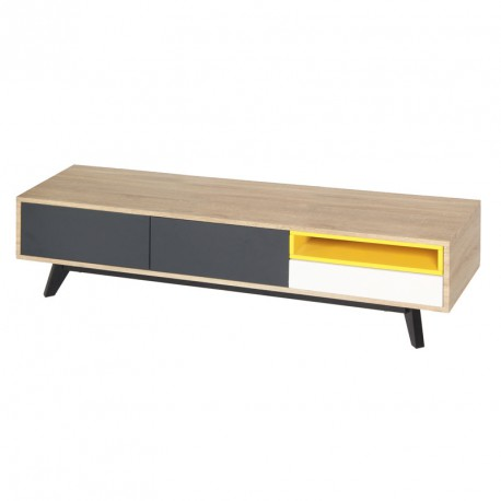 meuble tv 2 portes 1 tiroir jaune gris blanc scud. Black Bedroom Furniture Sets. Home Design Ideas