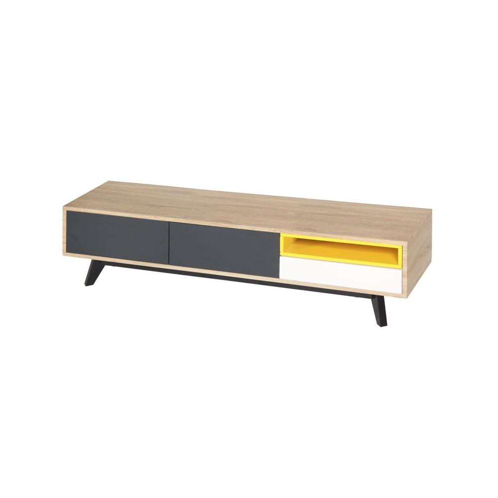 meuble tv 2 portes 1 tiroir jaune gris blanc scud univers des assises. Black Bedroom Furniture Sets. Home Design Ideas