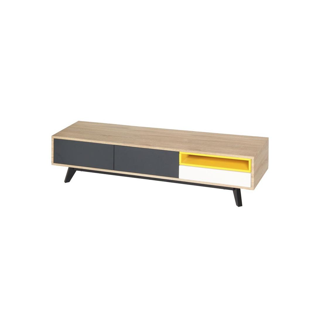 Meuble tv 2 portes 1 tiroir jaune gris blanc scud for Meuble 2 porte 2 tiroir